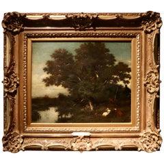 """Jules Dupré """"Landscape by the River"""", Oil on Canvas"""
