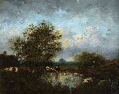 Cattle & Herder by a Pool - Sunset - 19th Century Oil, Night Landscape by Dupré
