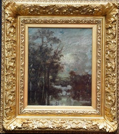 River Landscape with Trees - French 19thC Victorian Barbizon art oil painting