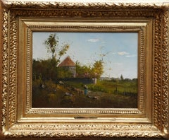 Woman in a Pastoral Landscape - French Victorian Barbizon Sch oil painting