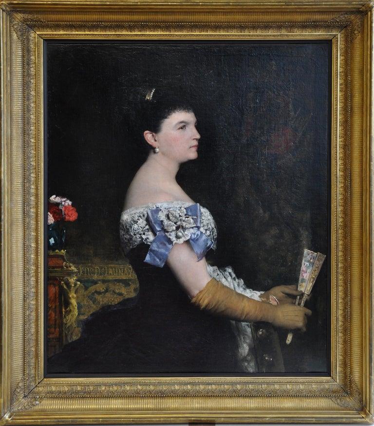 La Marquesa De Escombreras - French 19thC art female portrait oil painting  For Sale 2