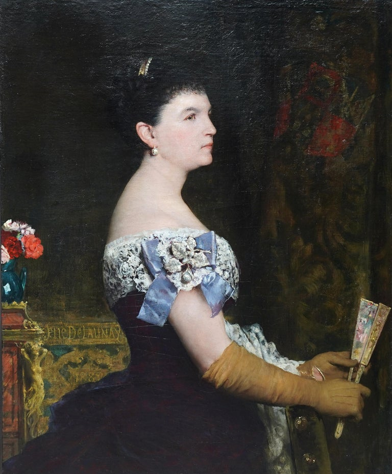 La Marquesa De Escombreras - French 19thC art female portrait oil painting  For Sale 6