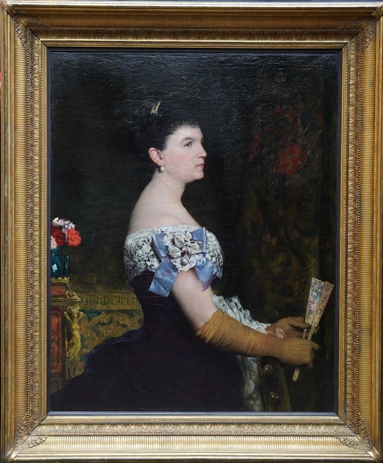 La Marquesa De Escombreras - French 19thC art female portrait oil painting  For Sale 7