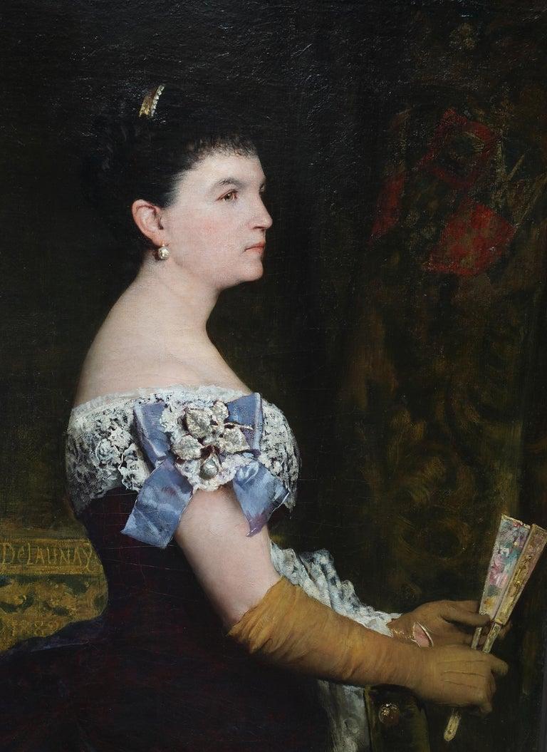 La Marquesa De Escombreras - French 19thC art female portrait oil painting  - Painting by Jules Elie Delaunay