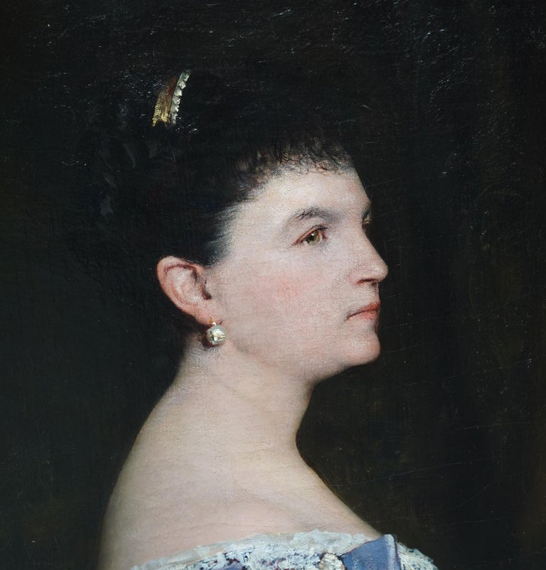 La Marquesa De Escombreras - French 19thC art female portrait oil painting  - Victorian Painting by Jules Elie Delaunay