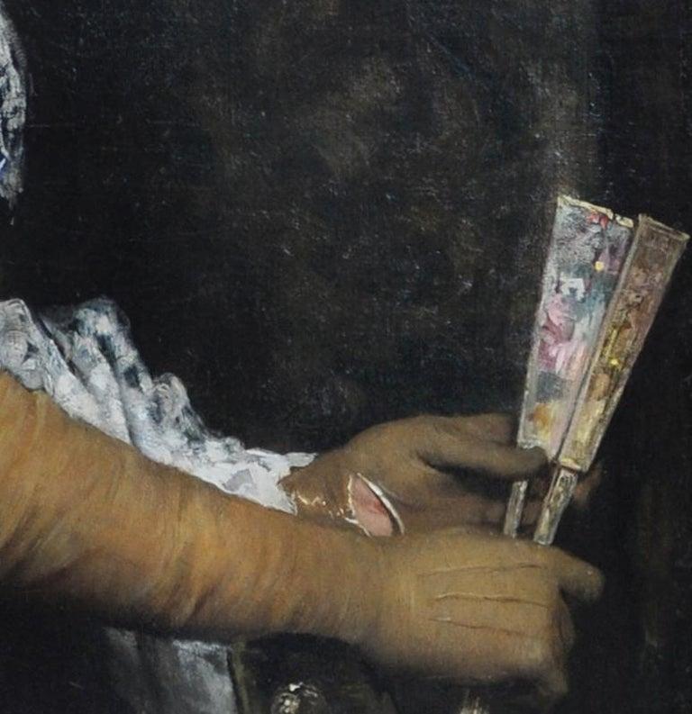 La Marquesa De Escombreras - French 19thC art female portrait oil painting  - Black Portrait Painting by Jules Elie Delaunay