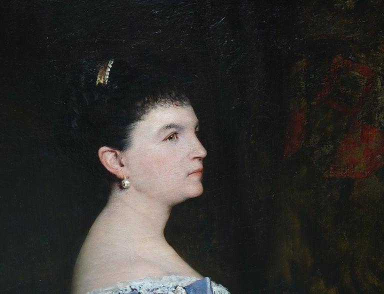 La Marquesa De Escombreras - French 19thC art female portrait oil painting  - Black Interior Painting by Jules Elie Delaunay