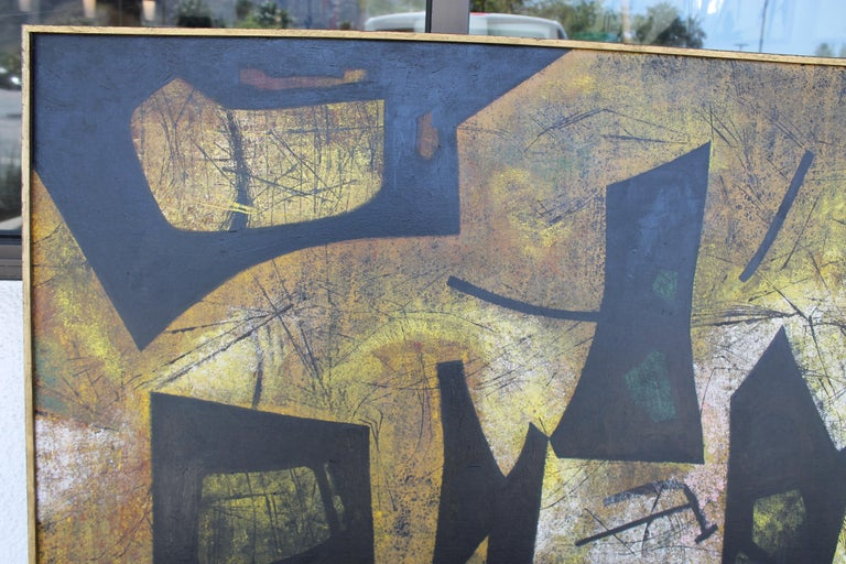 Oiled Jules Engel Oil Painting (Spaces) 1953 For Sale