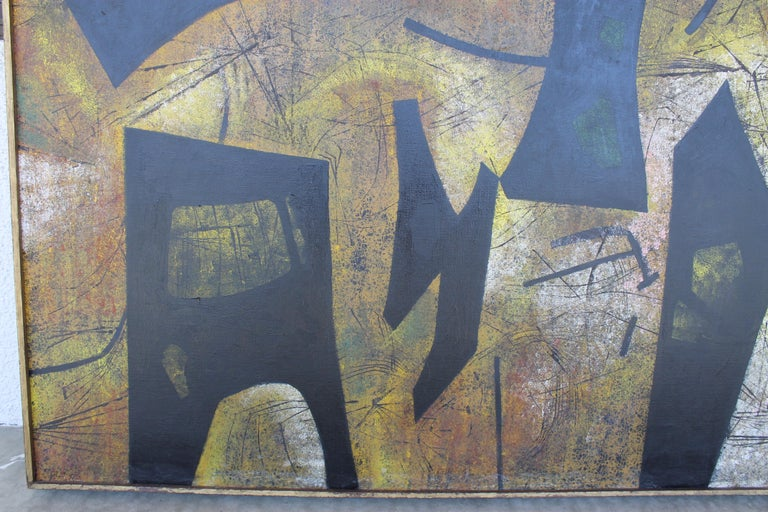 Canvas Jules Engel Oil Painting (Spaces) 1953 For Sale