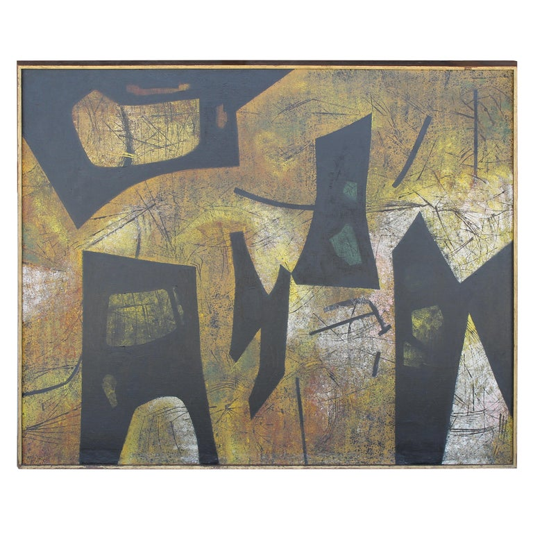Jules Engel Oil Painting (Spaces) 1953 For Sale