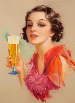 Cheers! Art Deco Pin-Up Beer Girl