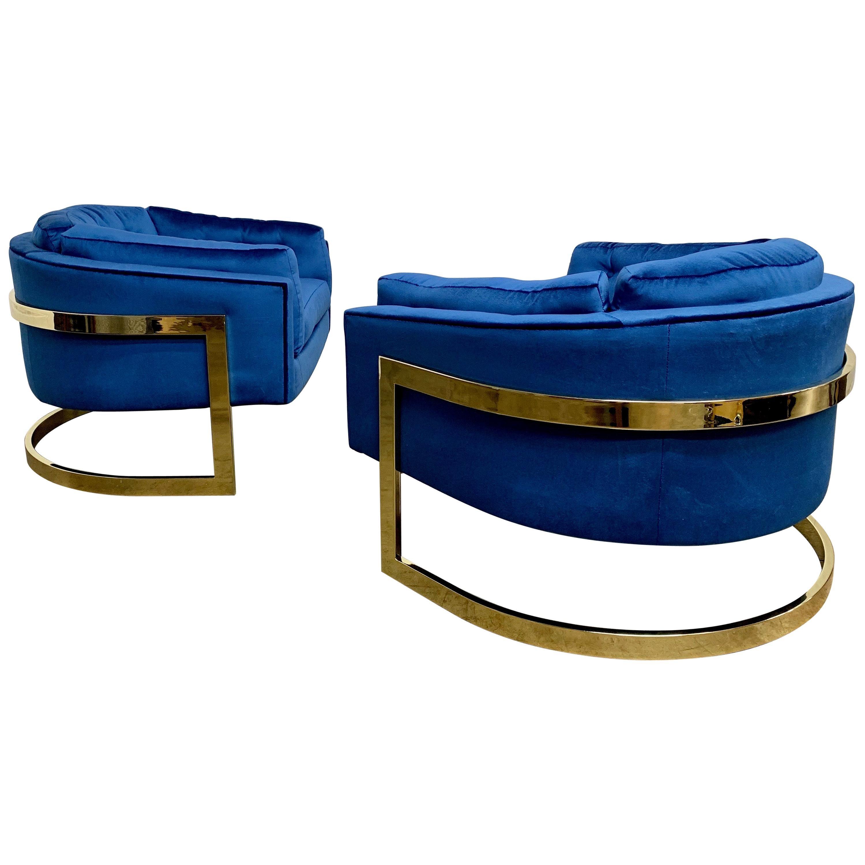 Jules Heumann for Metropolitan Cantilever Brass Lounge Chairs