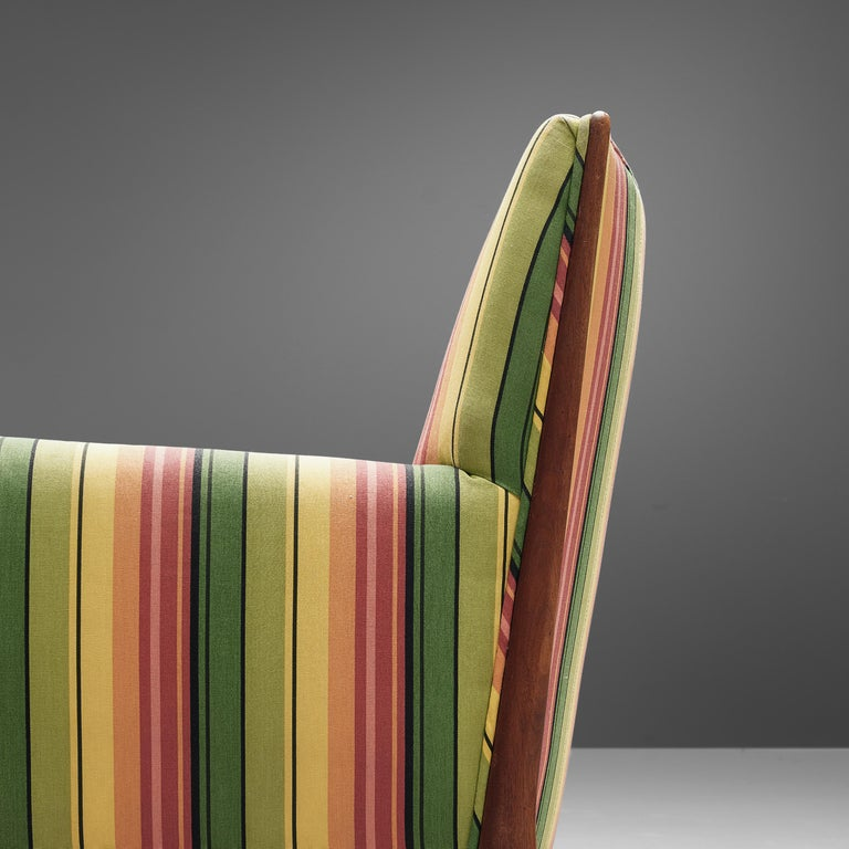 Mid-Century Modern Jules Heumann Lounge Chairs in Colourful Striped Fabric For Sale
