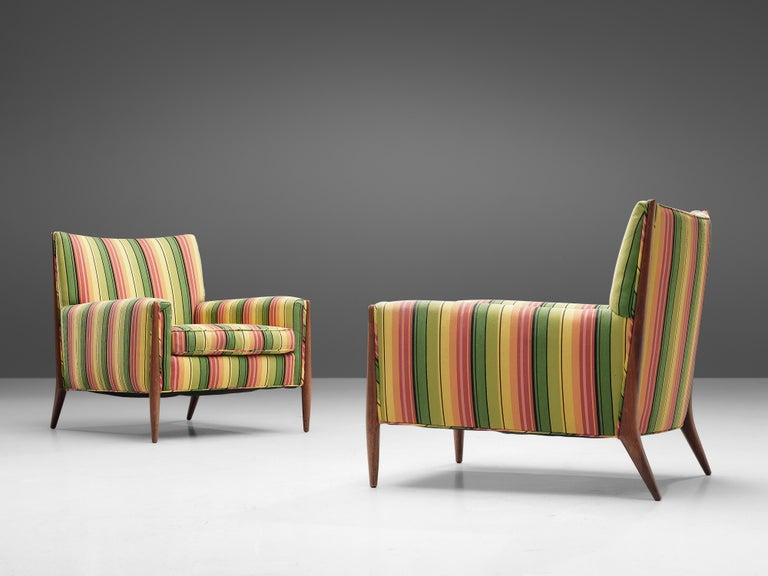 American Jules Heumann Lounge Chairs in Colourful Striped Fabric For Sale