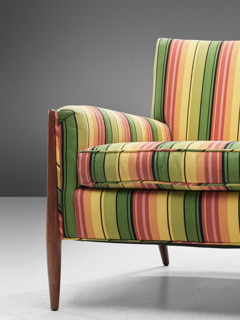 Jules Heumann Lounge Chairs in Colourful Striped Fabric In Good Condition For Sale In Waalwijk, NL