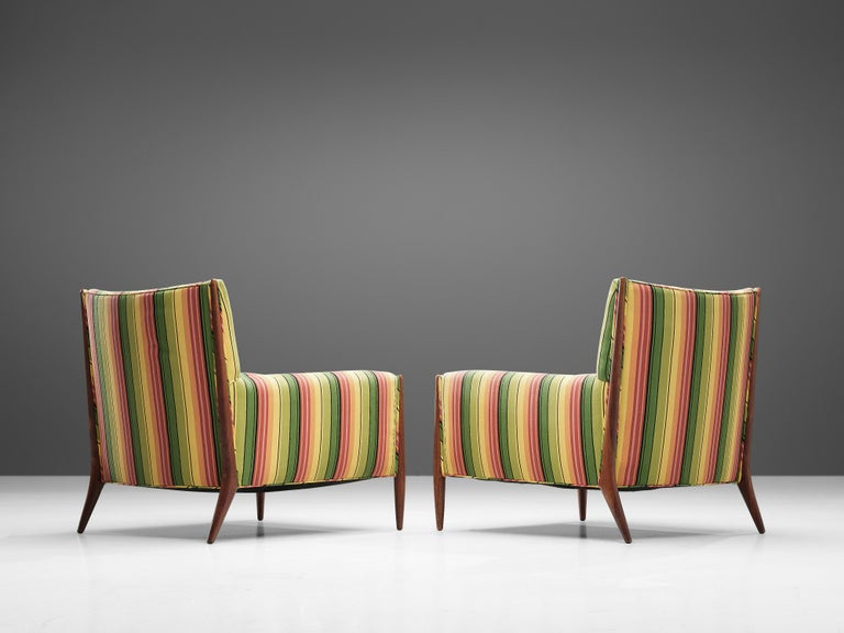 Mid-20th Century Jules Heumann Lounge Chairs in Colourful Striped Fabric For Sale