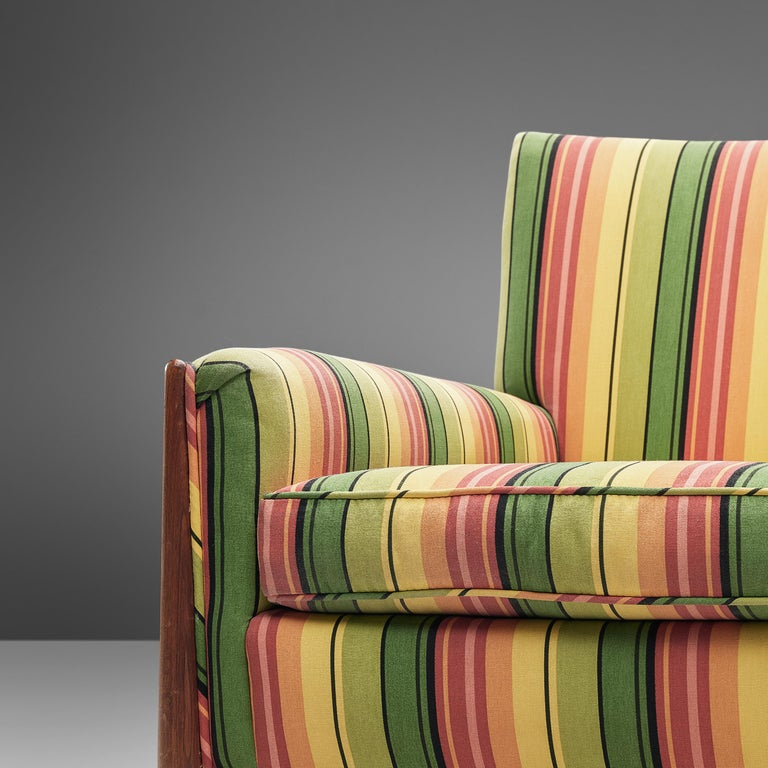 Jules Heumann Lounge Chairs in Colourful Striped Fabric For Sale 1