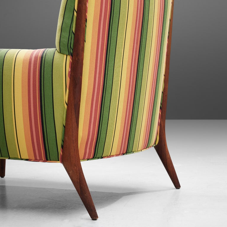 Jules Heumann Lounge Chairs in Colourful Striped Fabric For Sale 2