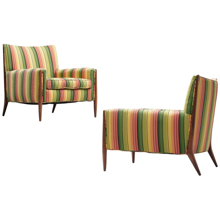 Jules Heumann Lounge Chairs in Colourful Striped Fabric For Sale
