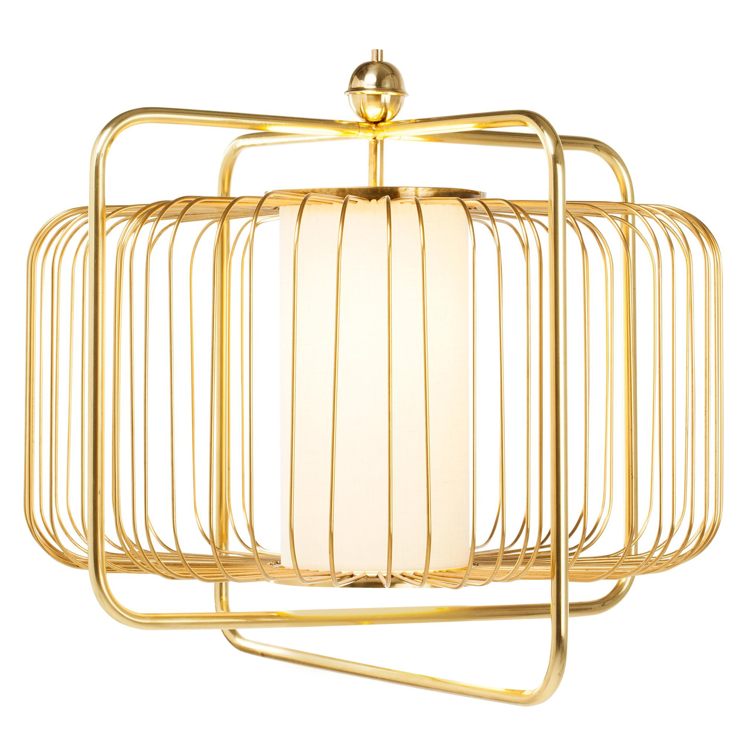Contemporary Art Deco inspired Jules I Pendant Lamp in Brass and Linen