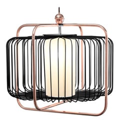 Contemporary Art Deco inspired Jules I Pendant Lamp in Copper, Blue and Linen
