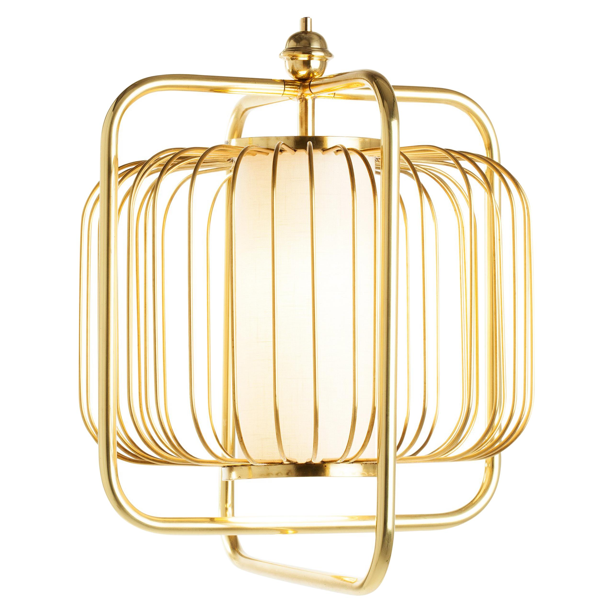 Contemporary Art Deco inspired Jules III Pendant Lamp in Brass and Linen