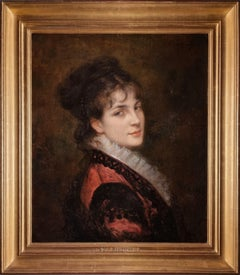 Portrait of a Young Beauty in red, French painter, signed oil on canvas