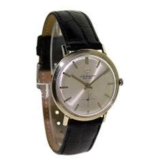 Jules Jurgensen 14Kt. White Gold Dress Style Manual Wristwatch, 1950s