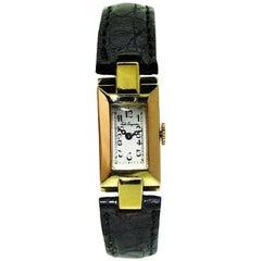 Jules Jurgensen 18 Karat Solid Two-Color Gold Art Deco Ladies Watch, circa 1930s