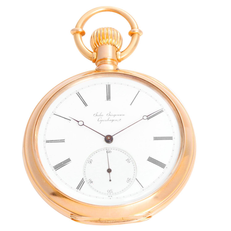 Jules Jurgensen 18 Karat Yellow Gold Oversize Pocket Watch