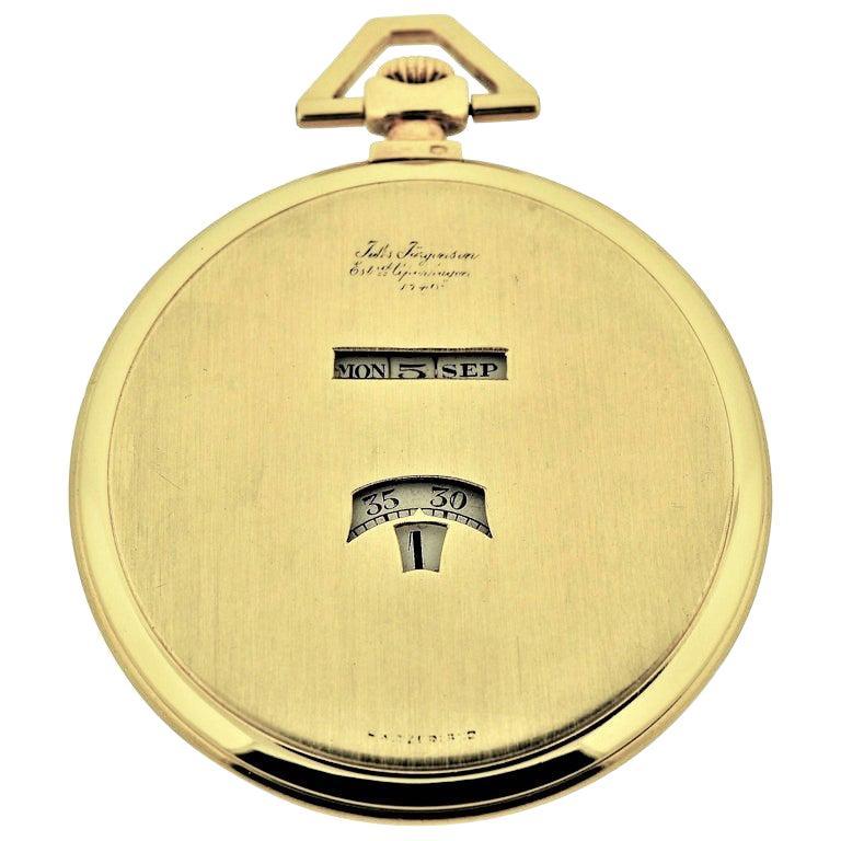 Jules Jurgensen Pocket Digital Time Calendar Watch For Sale