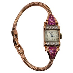 Jules Jurgensen Yellow Gold Bracelet Wristwatch with Ruby Accents