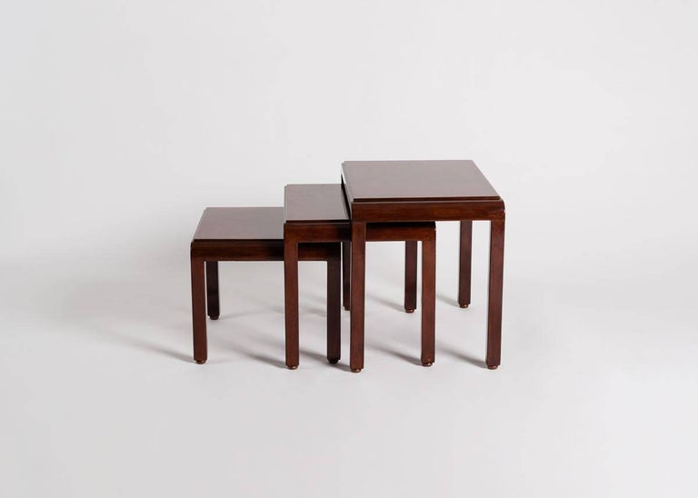 Jules Leleu & Katsu Hamanaka, Lacquered Nesting Tables, France, circa 1925 In Good Condition For Sale In New York, NY