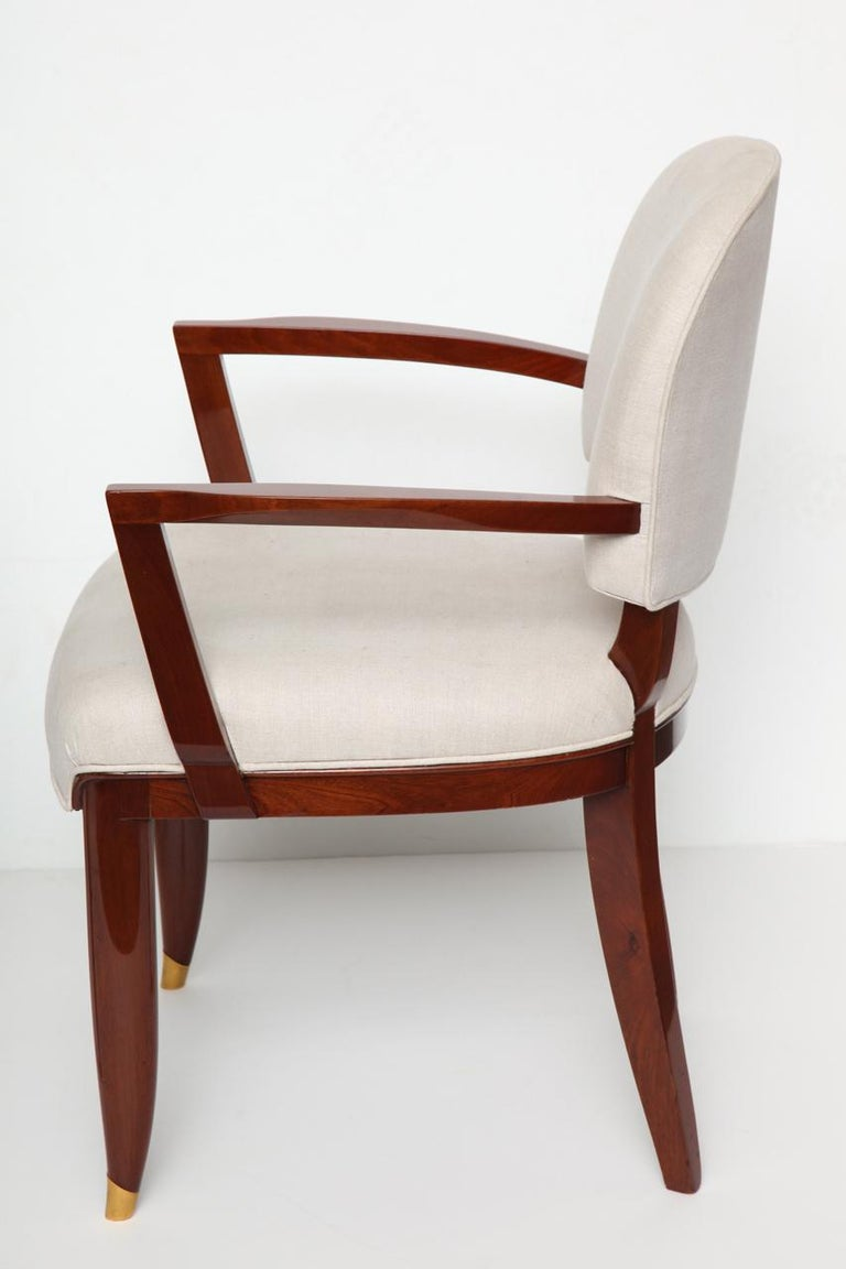 Gilt Jules Leleu, Art Deco Armchair, France, circa 1936 For Sale