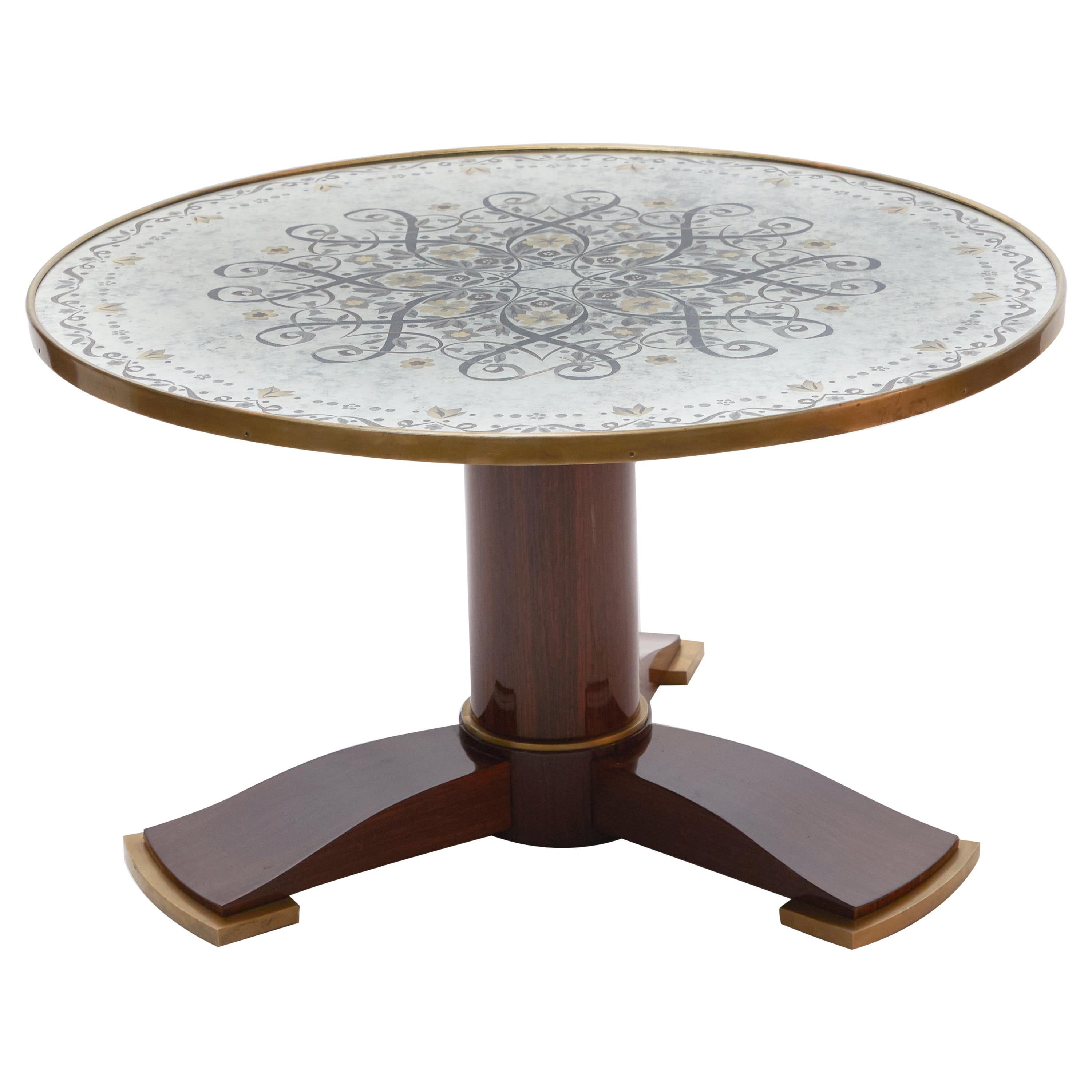 Jules Leleu, Art Deco Coffee Table with Mirrored Eglomisé Top, France, 1930s