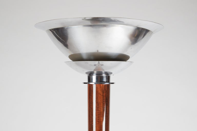 French Jules Leleu, Art Deco Floor Lamp, Walnut and Chrome-Plated Bronze, France For Sale