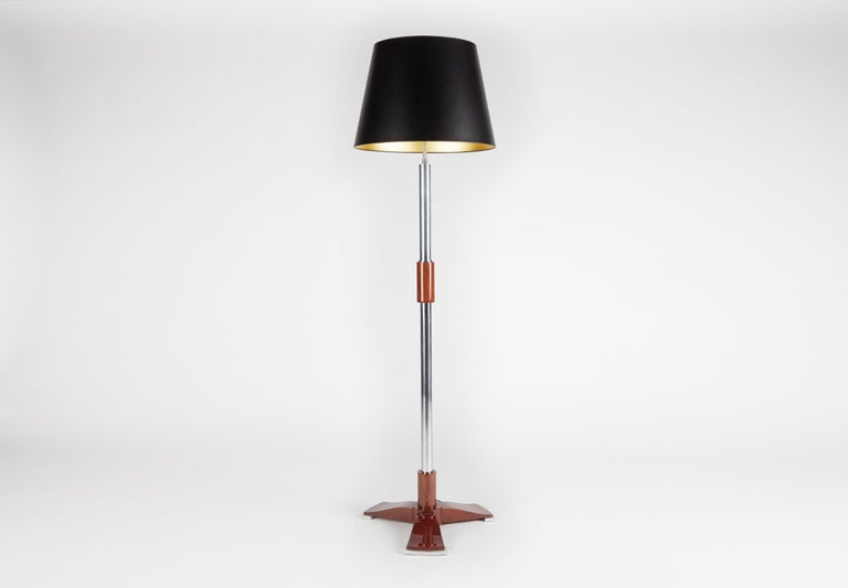 Mid-20th Century Jules Leleu, Art Deco Tripod Floor Lamp in Chrome and Walnut, France, C. 1932 For Sale
