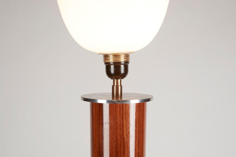 French Jules Leleu, Art Deco Tripodal Floor Lamp, Walnut and Chrome, France, circa 1930 For Sale