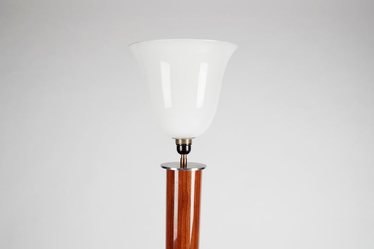 20th Century Jules Leleu, Art Deco Tripodal Floor Lamp, Walnut and Chrome, France, circa 1930 For Sale