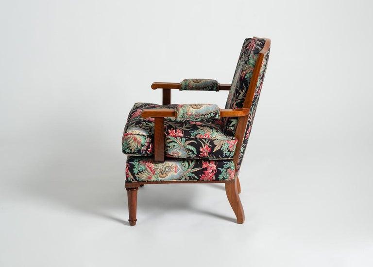 20th Century Jules Leleu, Art Deco Walnut Armchair, France, C. 1948 For Sale