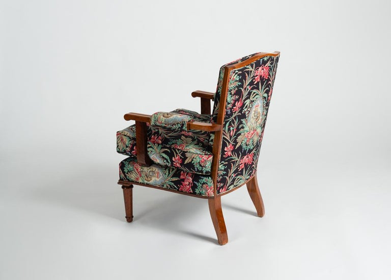 Jules Leleu, Art Deco Walnut Armchair, France, C. 1948 For Sale 1