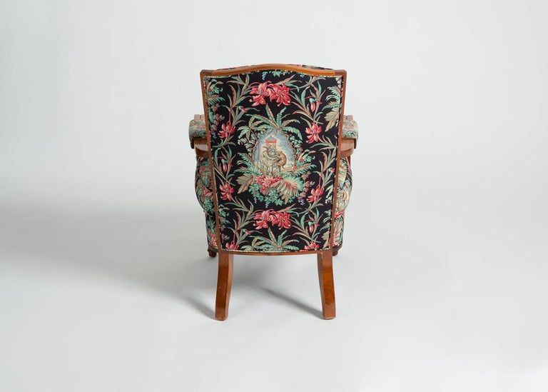 Jules Leleu, Art Deco Walnut Armchair, France, C. 1948 For Sale 2