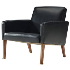 Jules Leleu Black Armchair with Brass Details