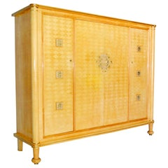 Jules Leleu Cabinet in Sycamore Wood with Marquetry, Signed, 1951, France