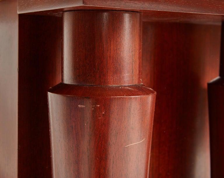 Jules Leleu Double Pedestal Mahogany Art Deco Desk with Gilt Bronze Details For Sale 5