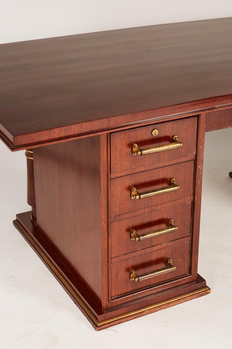 Jules Leleu Double Pedestal Mahogany Art Deco Desk with Gilt Bronze Details For Sale 6