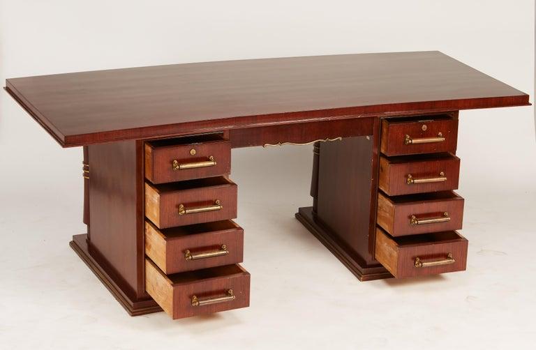 Jules Leleu Double Pedestal Mahogany Art Deco Desk with Gilt Bronze Details For Sale 7