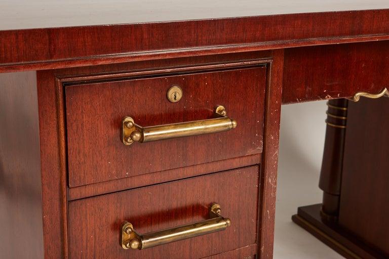 Jules Leleu Double Pedestal Mahogany Art Deco Desk with Gilt Bronze Details For Sale 9