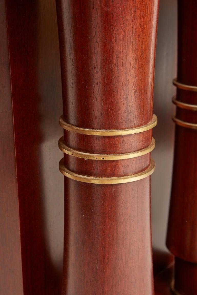 Jules Leleu Double Pedestal Mahogany Art Deco Desk with Gilt Bronze Details For Sale 11