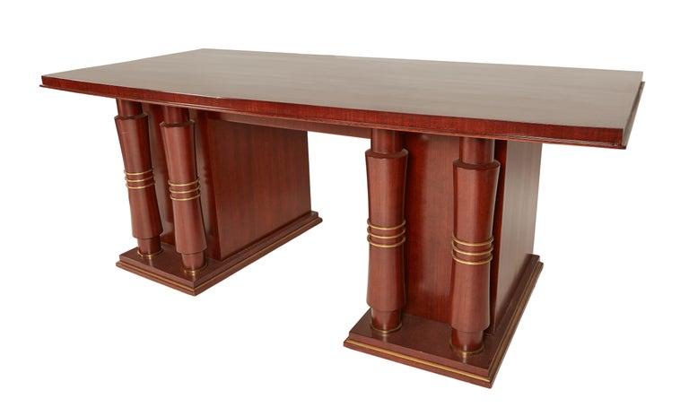 Mid-20th Century Jules Leleu Double Pedestal Mahogany Art Deco Desk with Gilt Bronze Details For Sale